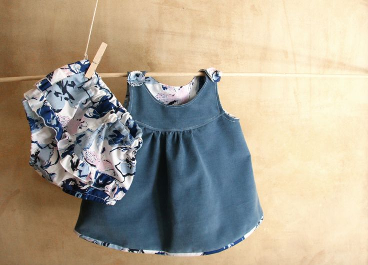 SET-Baby Girl Boy Clothes-Blue Corduroy Dress & Cotton Diaper Cover-Tunic and Bloomers-Newborn Clothes-Infant-Baptism-Flower Girl by PABUITA on Etsy