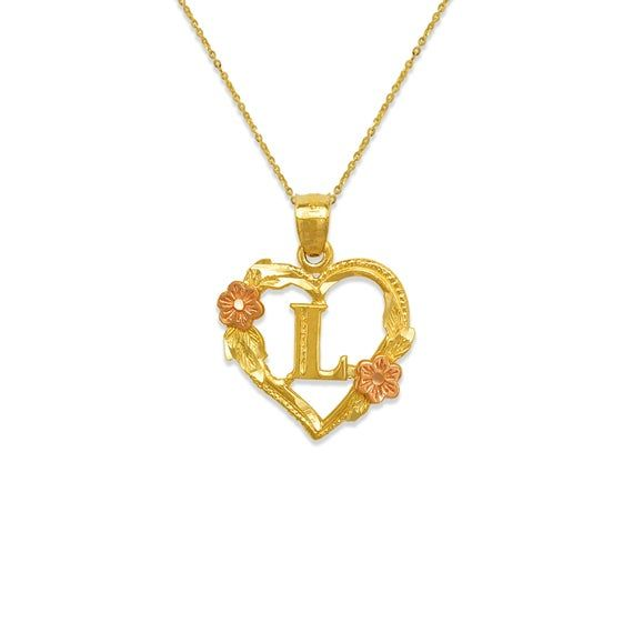 10K Solid Yellow Rose Gold Mom Pendant Flower Love Mother Necklace Charm Women