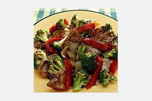 Quick Beef & Vegetable Stir-Fry recipe  Frozen mixed vegetables are briefly stir-fried with tender beef strips and a flavorful sauce made of beef broth, steak sauce and soy sauce.