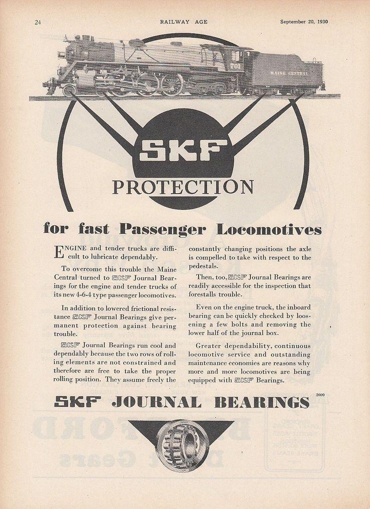 1930 SKF Bearings AD MEC Maine Central Railroad 701 4 6 4 Type Locomotive   eBay