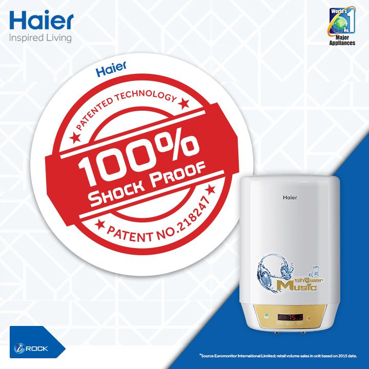 Stop worrying for electricity leakage and shock accidents. #Haier's #ShockProof Patented #Technology lets you enjoy a safe shower all the time.  #Haier #WaterHeaters #Innovation #InspiredLiving #HaierIndia