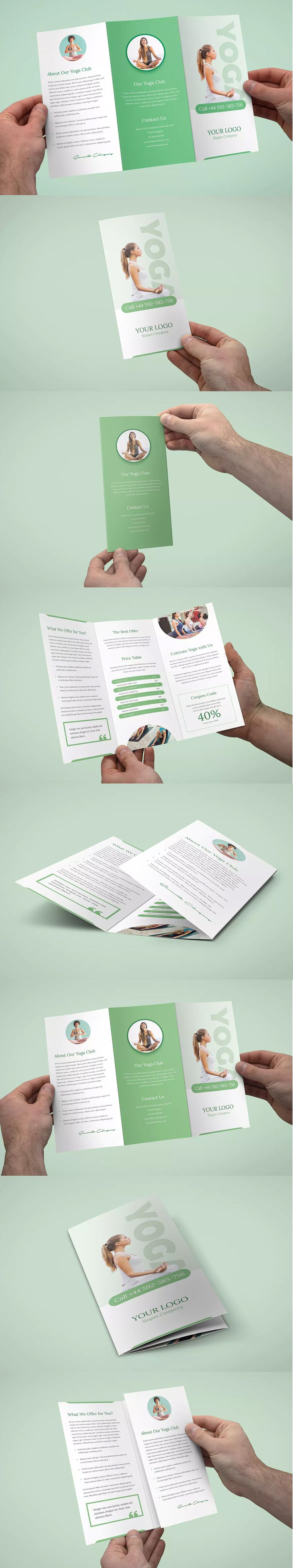 Yoga Tri-Fold Brochure Template PSD - A4 and US Letter Size
