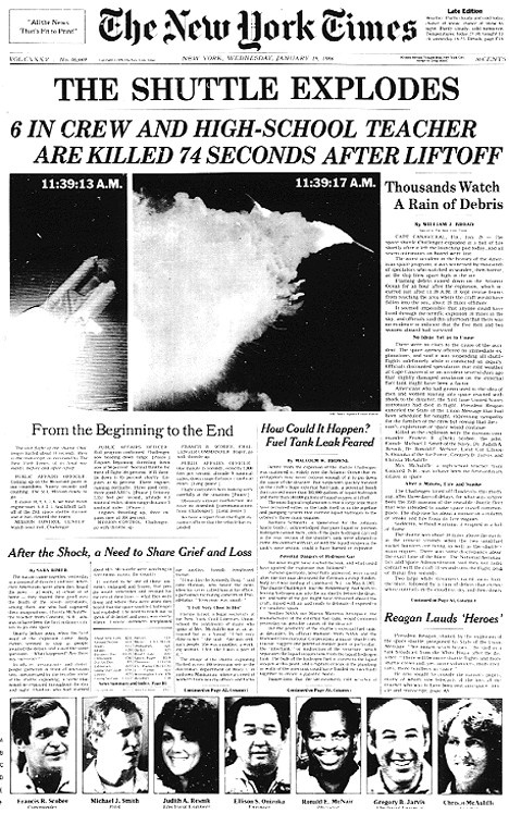January 28, 1986, when the Space Shuttle Challenger broke apart 73 seconds into its flight, leading to the deaths of its seven crew members. The spacecraft disintegrated over the Atlantic Ocean, off the coast of central Florida at 11:38 EST (16:38 UTC). Disintegration of the vehicle began after an O-ring seal in its right solid rocket booster (SRB) failed at liftoff. The O-ring failure caused a breach in the SRB joint.  1980s News | Challenger Explosion | @Cannes_Lions
