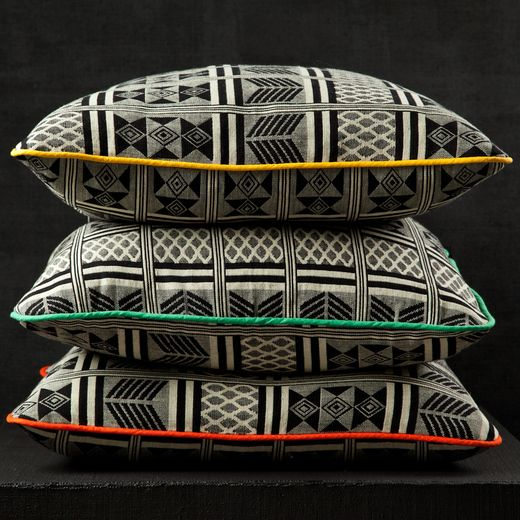 Darkroom   Ghanaian Black & White fabric cushion - Yellow/Green/Red     www.darkroomlondon.com