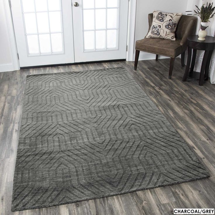 Rizzy Home Technique 100-percent Wool Accent Rug (3' x 5') (Charcoal Gray), Grey, Size 3' x 5'