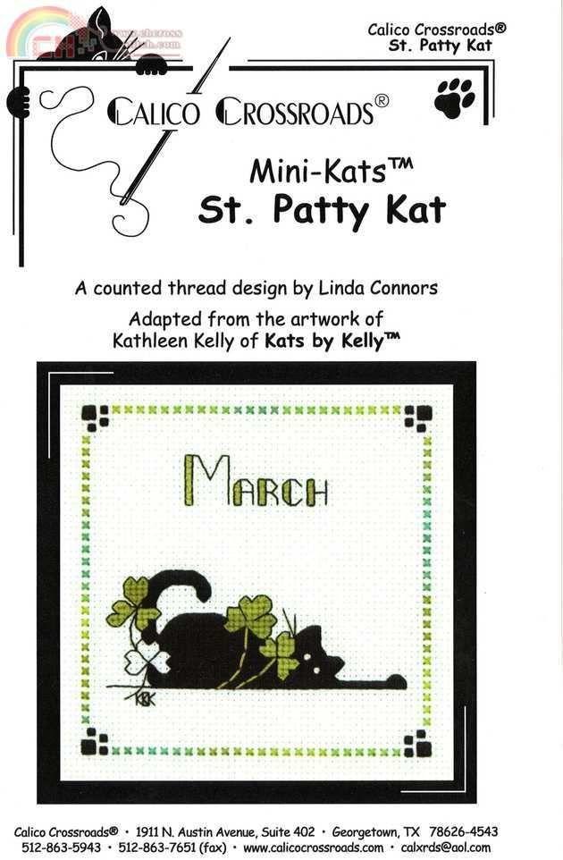 "Calico Crossroads Kats By Kelly - Mini Kats ""St. Patty Kat"" - March 2007"