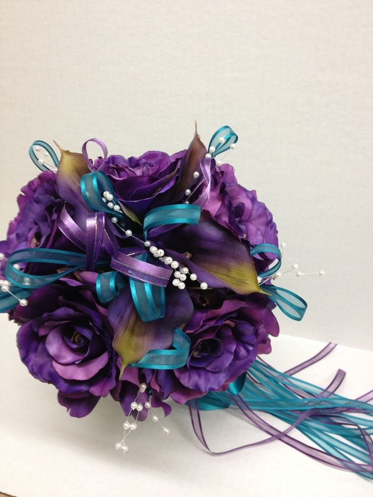 purple turquoise wedding bouquet | Purple and turquoise bridal bouquet | Aileen's 15 ideas