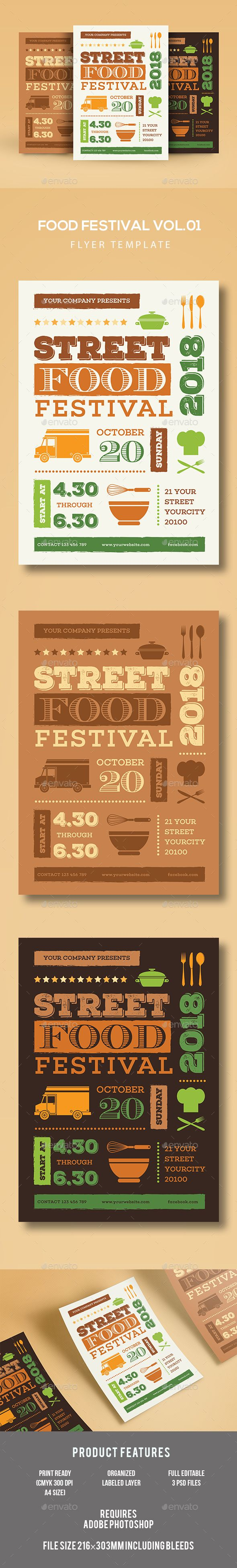 Food Festival Flyer Template PSD, AI Illustrator. Download here: http://graphicriver.net/item/food-festival-flyer/16892280?ref=ksioks