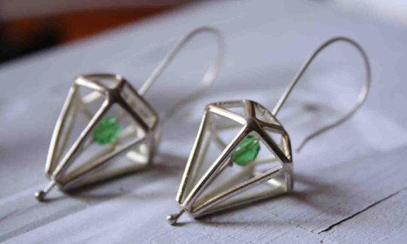 Silver Diamond Earrings by Prigkipo on Etsy, €45.00
