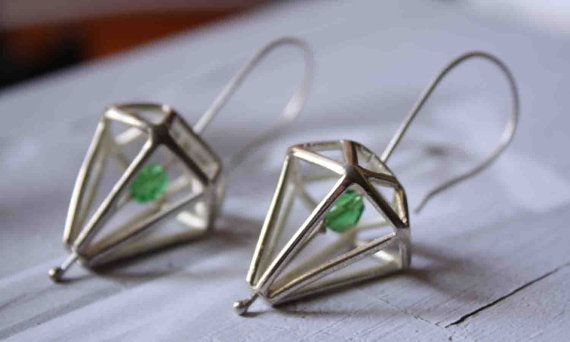Silver Diamond Earrings by Prigkipo on Etsy, €45.00
