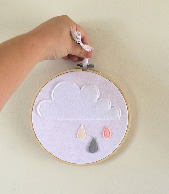 Kids Decor White  Light Pink Grey and Cream Raindrop by Cyandegre