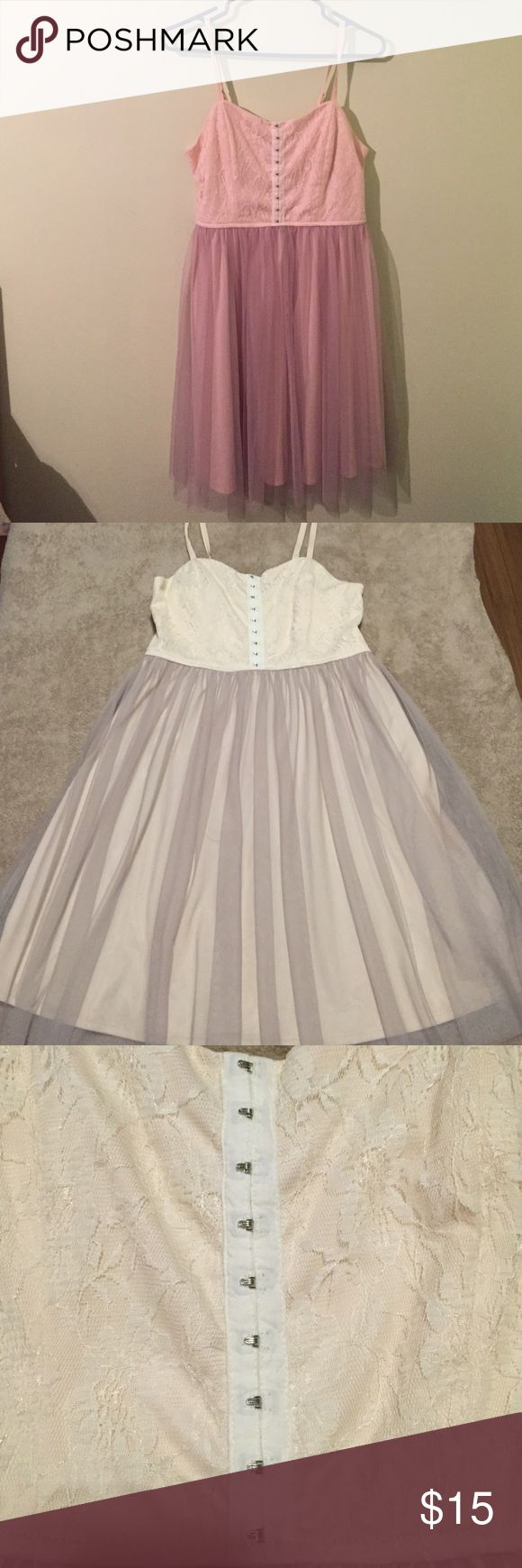 Spaghetti Strap Dress L Xhilaration cream colored spaghetti strapped dress with lacy Corset top and tulle skirt. Excellent condition Dresses