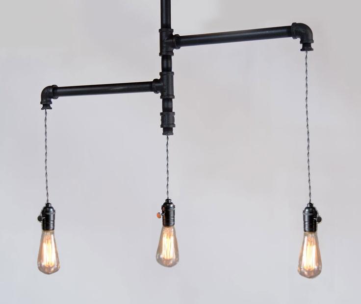 The Original Industrial edison tiered trio pipe chandelier