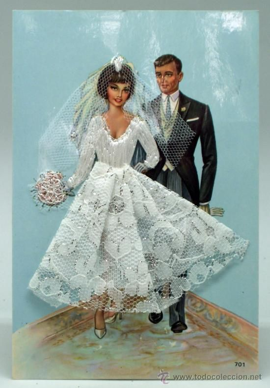 Postal bordada boda pareja novios nº 701 Global Traders años 70 sin circular