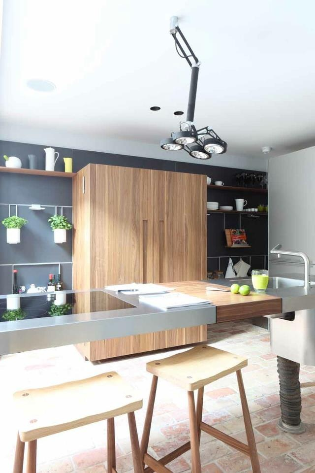 bulthaup b2 with b3 wall panels and russell pinch stools kitchen interior. Black Bedroom Furniture Sets. Home Design Ideas