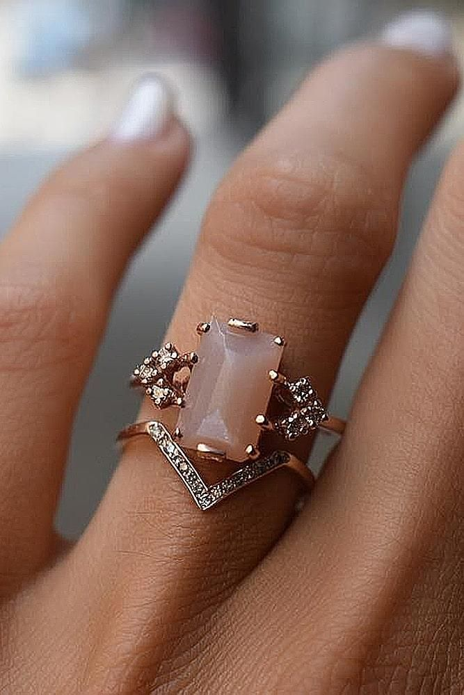 rose #gold #engagement #rings #unique #set #modern