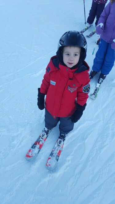 Declan on skis for the first time.
