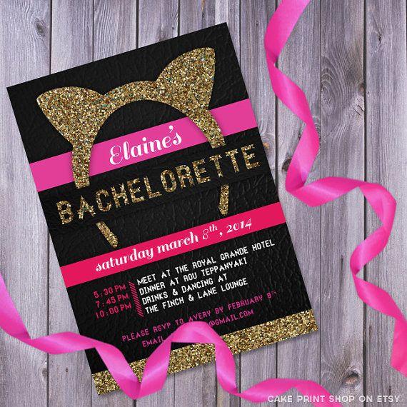 Cat ears bachelorette, Bachelorette invitation, printable bachelorette invite, glitter bachelorette, glitter invitation, hen party, lingerie...