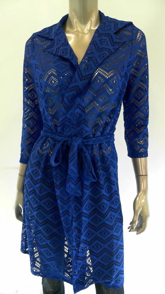 Slinky Belted Womens Misses Crochet Trenchcoat SZ S Royal Blue Argyle Coat Sale #SlinkyBrand #Trench