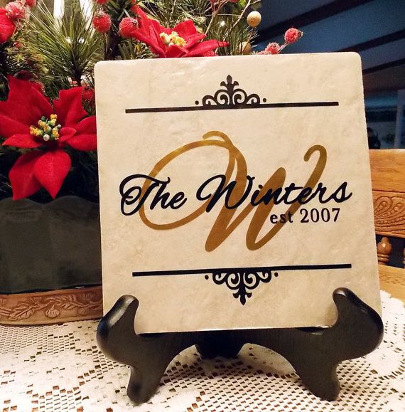 Ceramic Tile Personalized With Vinyl Lettering by KWintersDesigns, $20.00