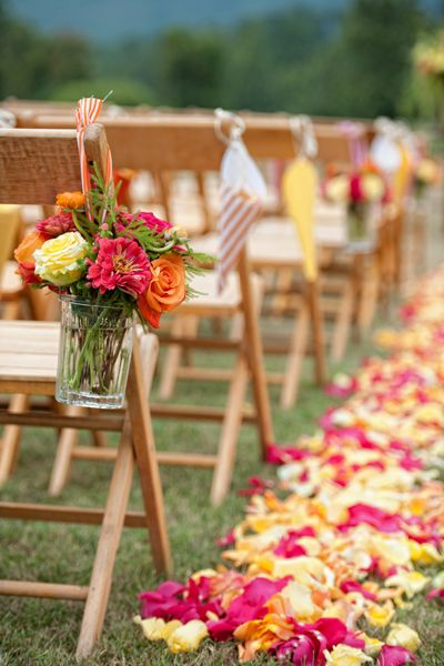 yes!: Wedding Inspiration, Pink Flowers, Hanging Flowers, The Bride, Orange Pink Wedding Flowers, Aisle Flowers, Colors Flowers, Aisle Decor, Bright Colors