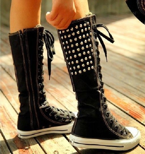 Gothic EMO Studded Canvas Boots Unisex Lace Up Zipper Knee High Sneakers Big Siz