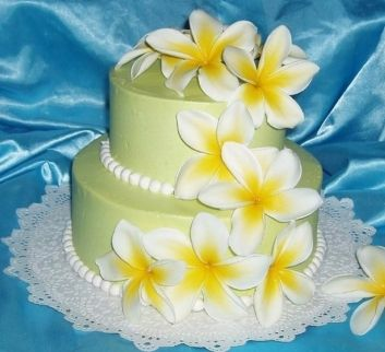 plumeria wedding cake - I would've had this for our wedding if I thought they could do it for us...