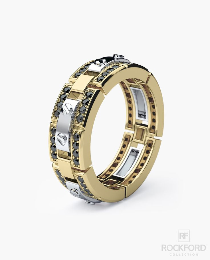 Cute REX Mens Two Tone Gold Wedding Band with ct Black Diamonds
