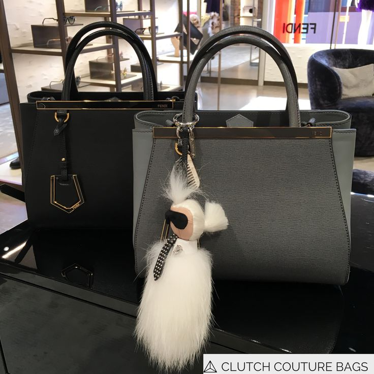 Two Fendi 2 Jours with Karl Lagerfeld charm. The Black Fendi 2Jours is available to rent from Clutch Couture Bags.
