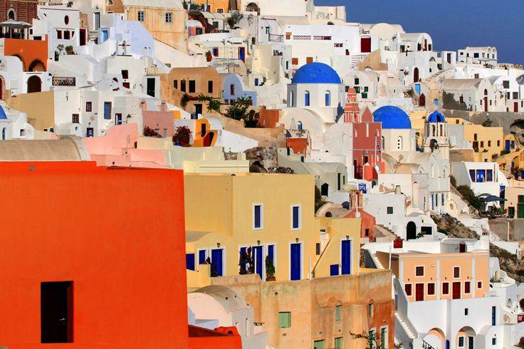 Travel Photography Greece, Santorini, Colorful Houses