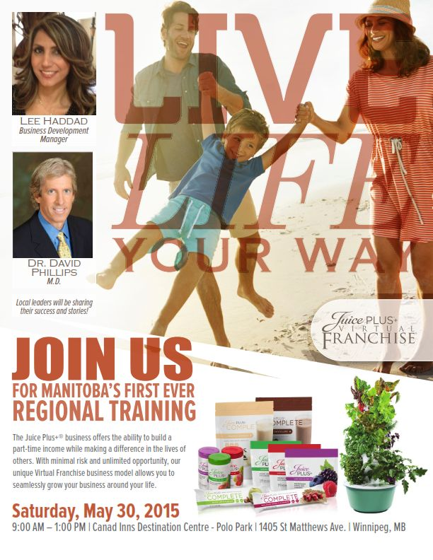 Join us for Manitoba's first ever regional training on May 30th, 2015! #JPCANADA #healthyliving  #virtualfranchisee