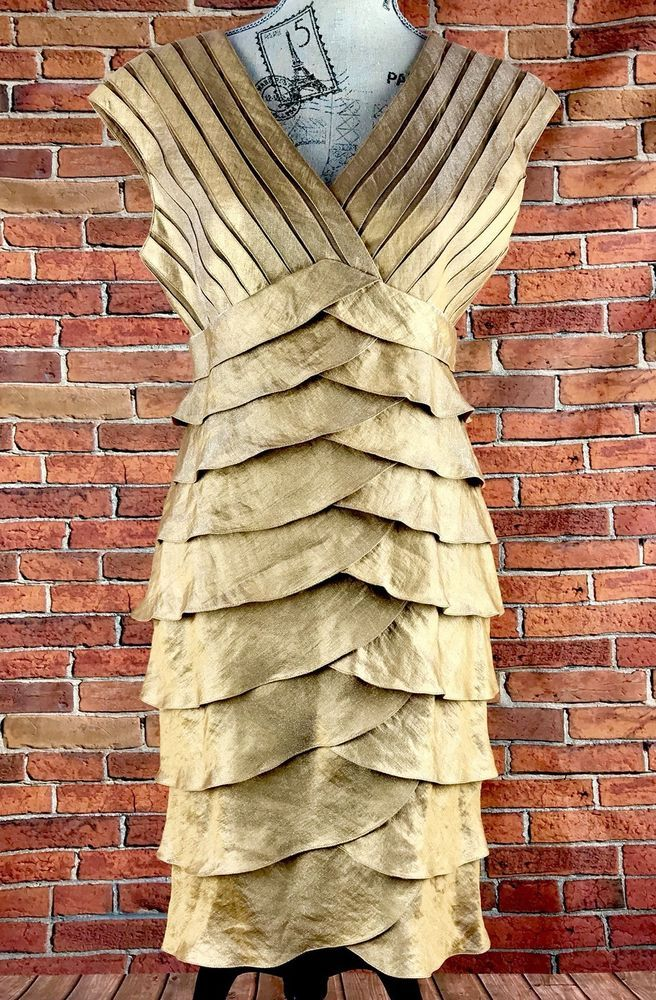 Adrianna Papell Dress Gold Tiered Ruffle Waist Cocktail Dress Fully Lined Size10