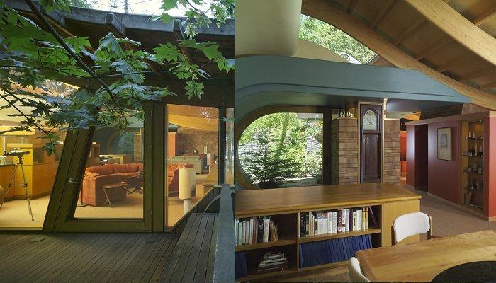 Wilkinson Rezidans - Oregon - Ev, 46 metrekare kapalı yaşam alanı ile toplam 306 metrekaredir. Oturma odalarını saran cam duvarlar ile inanılmaz görünüyor. Evde kullanılan tüm malzemeler doğaldır ve sahibinin zevkine göre inşa edilmiştir. Ağaç ev, orman gölgeliğinde bir eğimli araziye inşa edilmiştir.