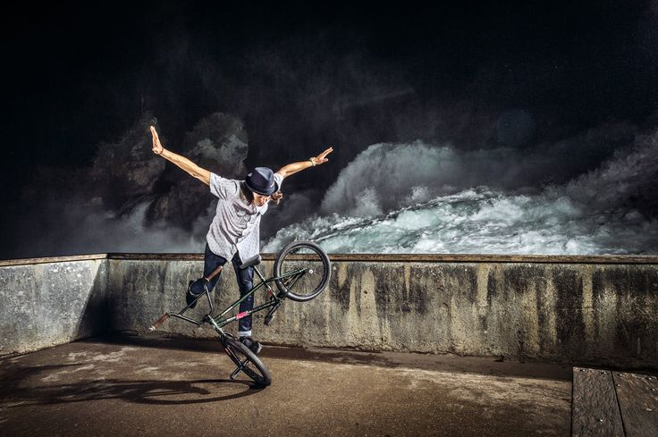 """Viki Gomez performs in front of the Rhein falls near Schaffhausen in Switzerland. <a href=""""https://www.redbullphotography.com/editors-choice/AP-1JVET5RQN1W11"""">Click to see more on redbullphotography.com</a> Lorenz Richard/Red Bull Content Pool"""