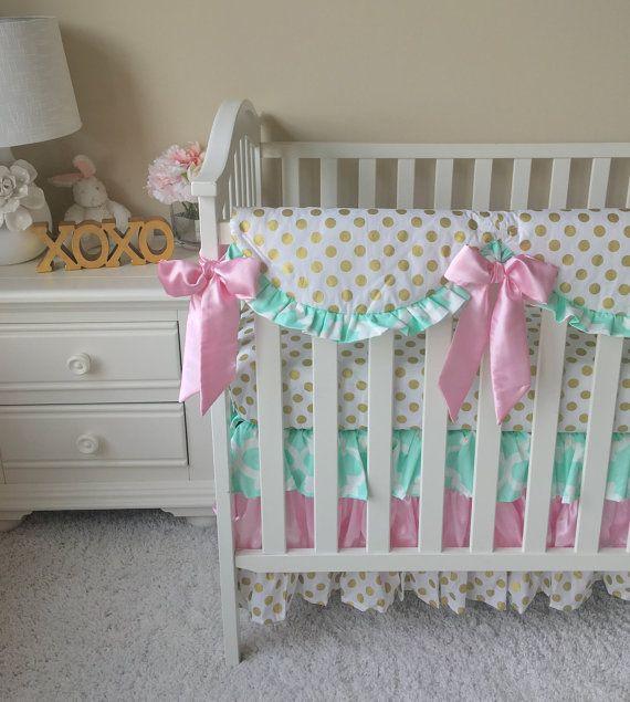 Gold Dot Ruffled Crib Skirt Baby Pink Crib by RitzyBabyOriginal