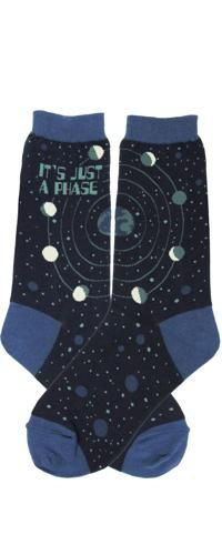 """It's just a phase we all go through, even the moon. Dark space-navy socks with the phases of the moon and """"It's Just A Phase"""". These moon socks are stellar.  Approximately fits women's shoe 5-10. 65% Cotton, 15% Nylon, 15% Polyester, 5% Spandex"""