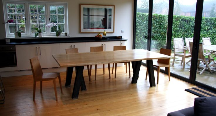 Dinning Table Solid Oak Top with Live Waney Edge and Steel Legs Rectangular Dinning Table Family size Live Edge Waney Contemporary Modern Rustic Kitchen Table Industrial