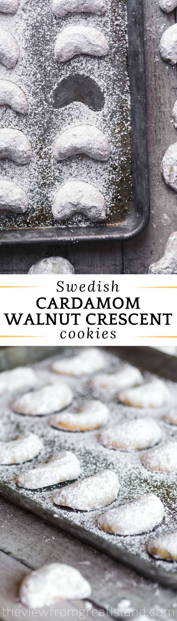 Cardamom Walnut Crescent Cookies ~ these classic Swedish Christmas cookies are made with a buttery shortbread dough jam packed with walnuts and a hint of warm cardamom. My oma used to make these #snowballcookies
