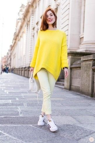 Women's Yellow Oversized Sweater, Yellow Jeans, White Leather Low Top Sneakers, White Leather Tote Bag