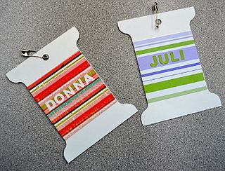 Donna and Juli's Name Tags by Edmonton Modern Quilt Guild, via Flickr