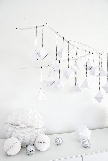 Modern take on an advent calendar! Perfect! 31 Minimalist Christmas Décor Ideas | DigsDigs origami, diy, paper art