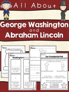 In this packet are activities about Presidents' Day!It is very simple and geared towards the younger grades!Included:Washington's Timeline, All About Washington, Washington's FactsLincoln's Timeline, All About Lincoln, and Lincoln's FactsIf I Were PresidentEverything you need to make a Presidential Poll & Classroom GraphComparing/What is the Same/Difference between Lincoln and Washington.