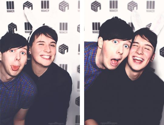 dan and phil. I love how Dan truly smiles while around Phil. Not like just a fake smile to the camera but a nice one that we only really see when he's around Phil.