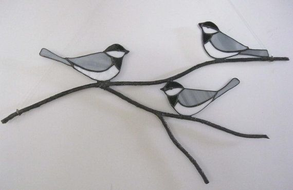 Chickadees on a Branch  Stained Glass Suncatcher or by Nanantz, $69.00