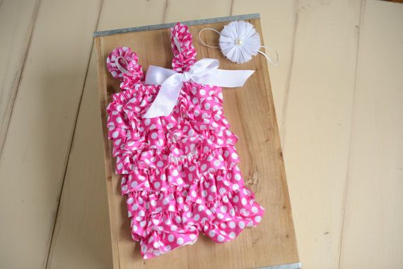 6 month photo outfit girl pink polka dot baby by ScarlettGene