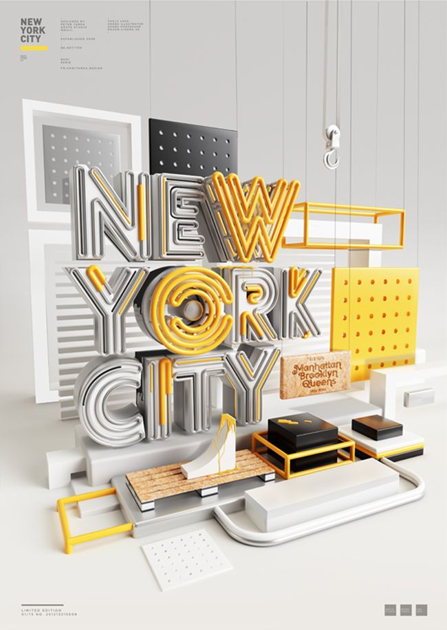 Typography, New York City, 3D Typography