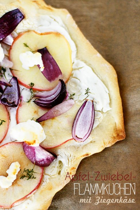 Tarte Flambee with Red Onions, Apple, Thyme and Goat Cheese