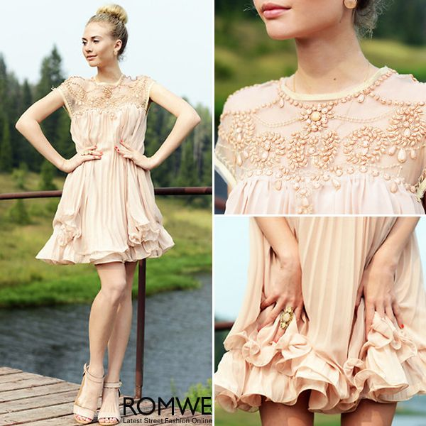 Beaded Pleated Layered Apricot Dress