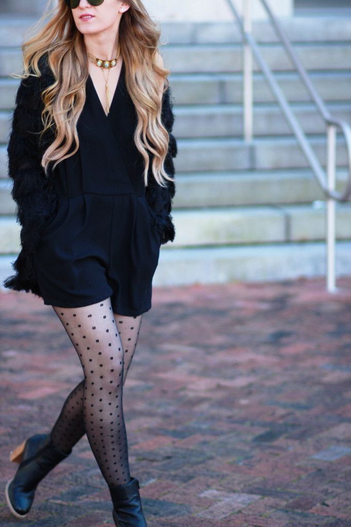 all black romper outfit with dots tights