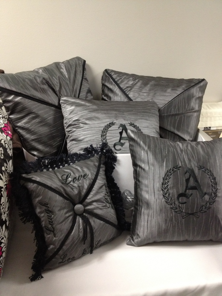 Monogrammed pillows in grey with black trim monogrammed pillows